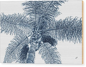 Looking Up At Palm Tree Blue Wood Print by Ben and Raisa Gertsberg
