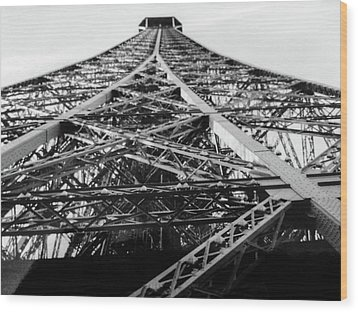 Looking Up From The Eiffel Tower Wood Print by Darlene Berger