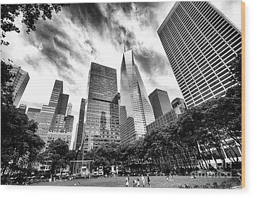 Wood Print featuring the photograph Looking Up In Bryant Park by John Rizzuto