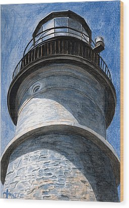 Looking Up Portland Head Light Wood Print by Dominic White