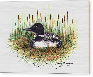 Wood Print featuring the painting Loon And Baby Judy Filarecki Watercolor by Judy Filarecki