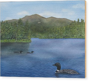Loon Lake Wood Print by Sharon Farber