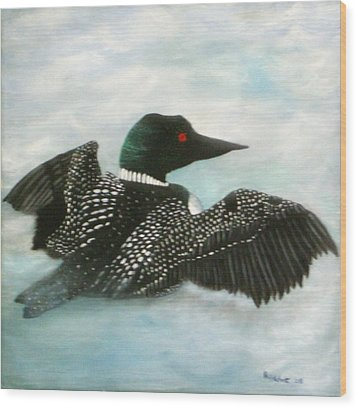 Loon Wood Print by Rebecca  Fitchett
