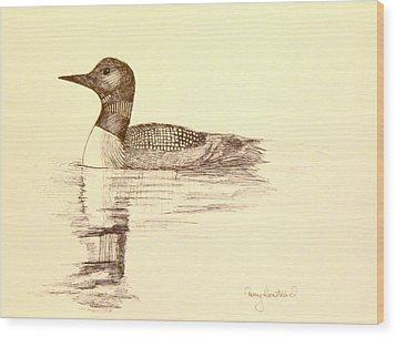 Loon Wood Print by Terry Honstead