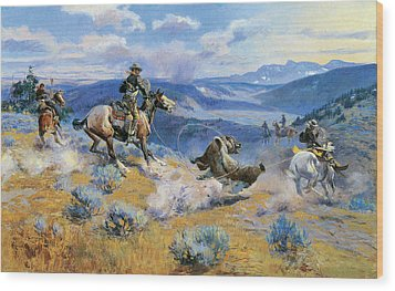 Loops And Swift Horses Are Surer Than Lead Wood Print by Charles Russell