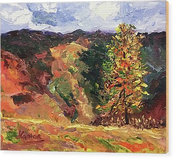 Loose Landscape Wood Print by Janet Garcia