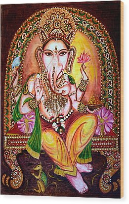Wood Print featuring the painting Lord Ganesha by Harsh Malik