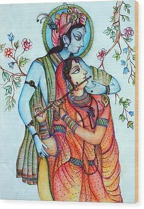 Lord Radha Krishna's Divine Love Wood Print by Kavita Sarawgi