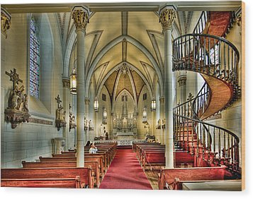 Wood Print featuring the photograph Loretto Chapel Altar by Anna Rumiantseva
