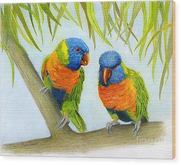 Lorikeet Pair Wood Print