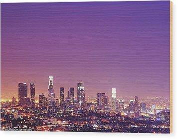 Los Angeles At Dusk Wood Print by Dj Murdok Photos