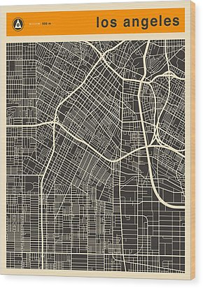 Los Angeles Map Wood Print by Jazzberry Blue