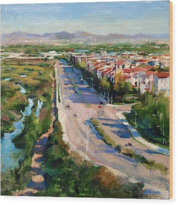 Los Angeles - Playa Vista From South Bluff Trail Road Wood Print