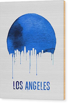 Los Angeles Skyline Blue Wood Print