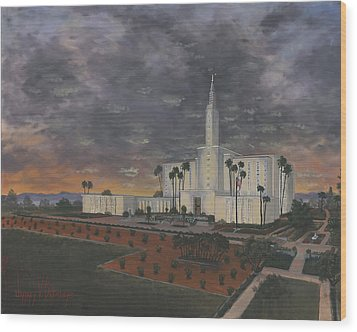 Los Angeles Temple Evening Wood Print by Jeff Brimley