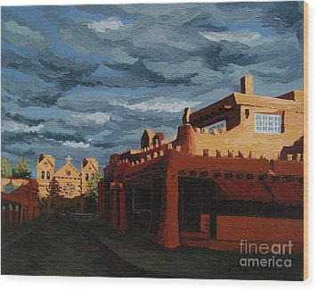 Wood Print featuring the painting Los Farolitos,the Lanterns, Santa Fe, Nm by Erin Fickert-Rowland