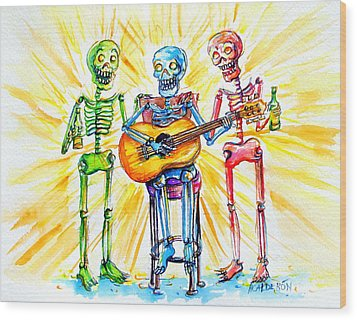 Wood Print featuring the painting Los Tres Cantantes by Heather Calderon
