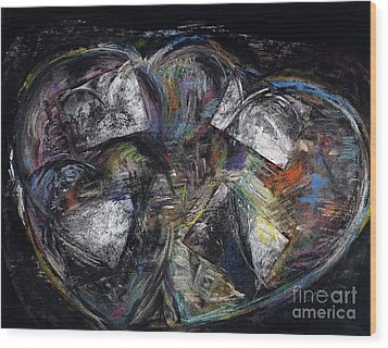 Lots Of Heart Wood Print by Frances Marino