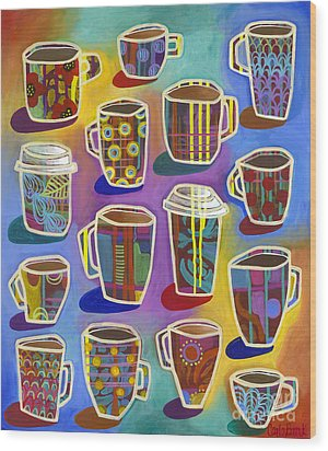 Wood Print featuring the painting Lots Of Lattes by Carla Bank