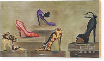 Lots Of Shoes Wood Print