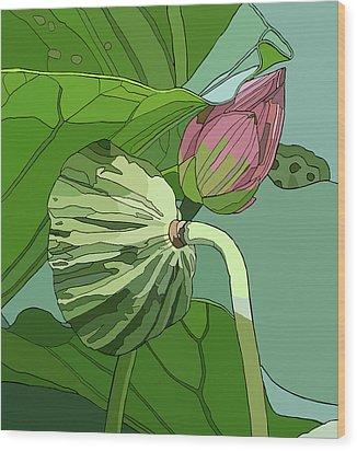 Lotus And Bud Wood Print by Jamie Downs