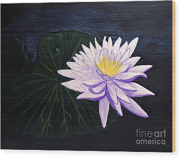 Wood Print featuring the painting Lotus Blossom At Night by Patricia Griffin Brett
