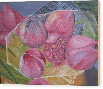 Lotus Buds Shanghai Market Wood Print by Lisa Boyd