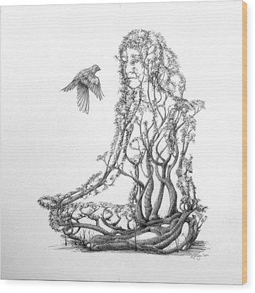 Lotus Dancer Wood Print by Mark Johnson