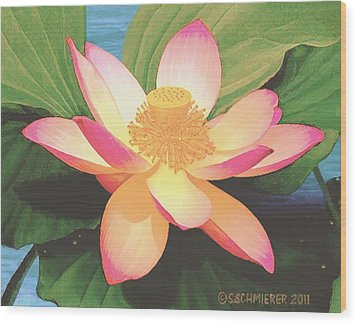 Wood Print featuring the painting Lotus Flower by Sophia Schmierer