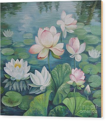 Lotus Flowers Wood Print by Elena Oleniuc