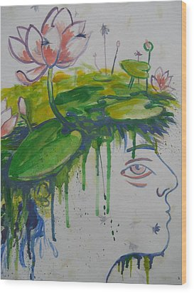 Wood Print featuring the painting Lotus Head by Tilly Strauss