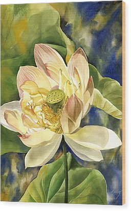 Wood Print featuring the painting Lotus In Blooms by Alfred Ng