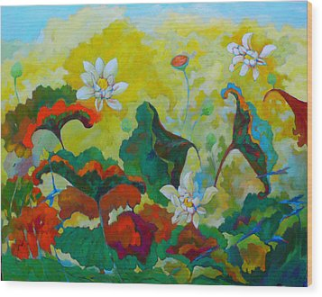 Lotus In The Fall Wood Print by Tung Nguyen Hoang