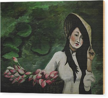 Lotus Wood Print by Kim Selig