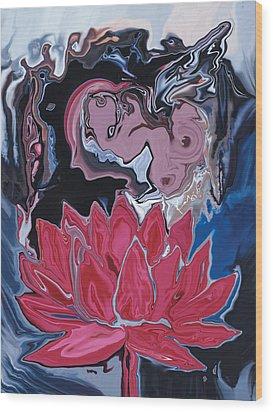 Wood Print featuring the digital art Lotus Love by Rabi Khan