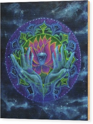 Lotus Of Light Wood Print by Deborah Wright