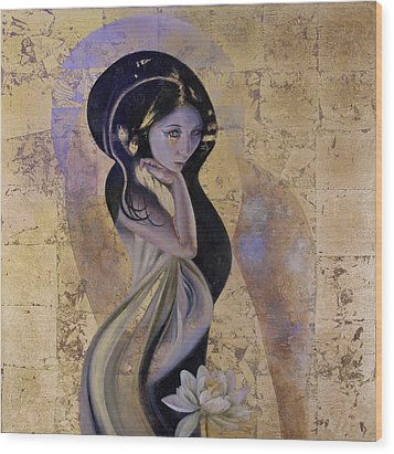 Wood Print featuring the painting Lotus by Ragen Mendenhall