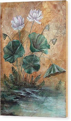 Lotus Wood Print by Sandy Clift