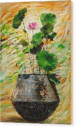 Lotus Tree In Big Jar Wood Print by Atiketta Sangasaeng