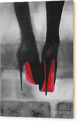 Louboutin At Midnight Black And White Wood Print by Rebecca Jenkins