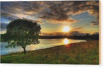Lough Erne Sunset Wood Print by Kim Shatwell-Irishphotographer