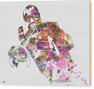 Louis Armstrong 2 Wood Print by Naxart Studio