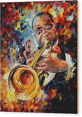 Louis Armstrong Wood Print by Leonid Afremov
