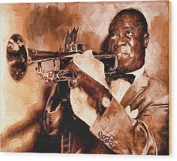 Louis Armstrong Wood Print by Louis Ferreira