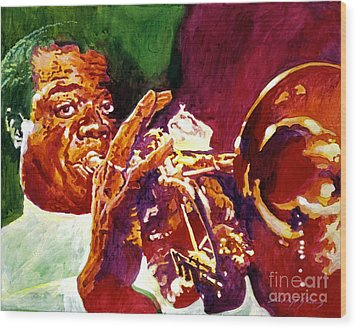 Louis Armstrong Pops Wood Print by David Lloyd Glover