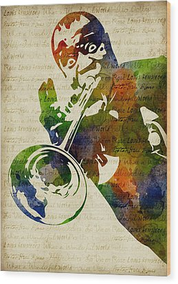 Louis Armstrong Watercolor Wood Print