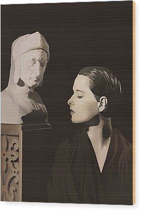 Louise Brooks With Bust Of Dante Alighieri  Wood Print by Vintage Brooks