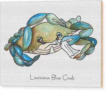 Louisiana Blue Crab Wood Print by Elaine Hodges