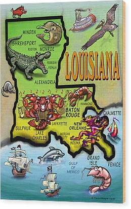 Louisiana Cartoon Map Wood Print by Kevin Middleton