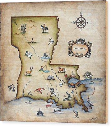 Louisiana Map Wood Print by Judy Merrell